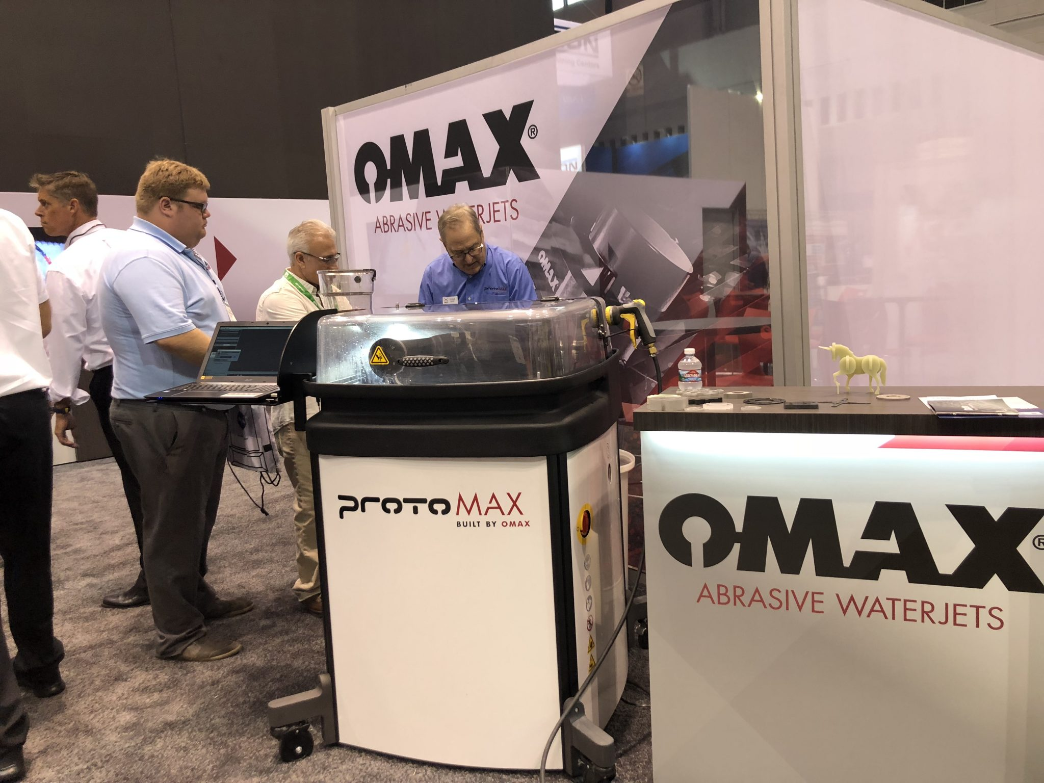 ProtoMAX Abrasive Waterjet from OMAX on Display at PRI